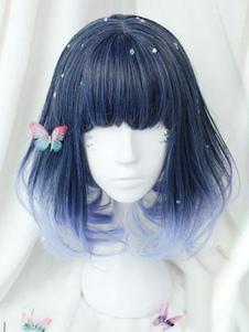 Peluca de Lolita de fibra resistente al calor azul morado