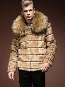 Casaco de pele masculino mais tamanho jaqueta de peles artificiais em Khaki