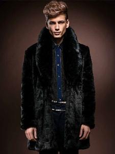 Cappotto di pelliccia nera più il collare di turndown di formato del cappotto di inverno della pelliccia del faux di mid-lunghezza per gli uomini