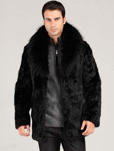Nero couverture collare gancio e giacca di pelliccia pelliccia cappotto maschile