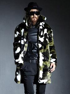 Cappotto in pelliccia sintetica per uomo e gilet mimetico