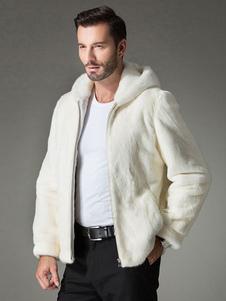 Abrigo de piel sintética blanco encapuchado color liso con cremallera de lujo
