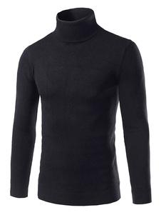 Мужской вязаный свитер светло серый высоким воротником с длинным рукавом Slim Fit пуловер перемычки