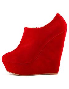 Замшевые ботинки лодыжки Красный круглый носок Zip Up Low Top Wedge Booties для женщин