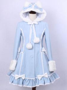 Chaquetas de Lolita de lana color celeste encapuchadas con manga larga de dos tonos con pompón