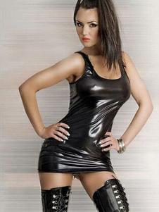 Club pizzo senza maniche femminile Bodycon vestito nero PU pelle Sexy Tank Dress Up