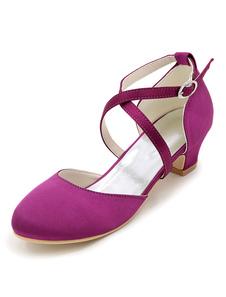 Шампанское Цветочная девочка Насосы Атласные Обувь Criss Cross Chunky Heel Свадебная Обувь для Цветочной Девочки