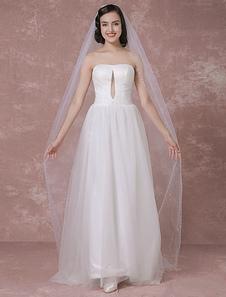 العاج الزفاف الحجاب تول من الطبقة واحدة مطرز حافة الحجاب الزفاف