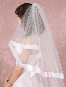 Casamento catedral véu branco 2-camada líquida cachoeira Véu de noiva com fita de borda