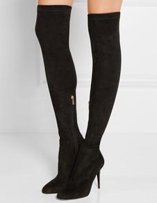 Black Stretch Boots Dedo Pointe Preto Feminino Sobre o Joelho de Salto Alto