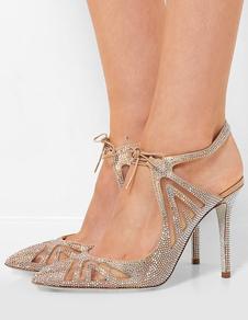 Scarpe da donna con tacco alto e albicocca con punta a punta e strass
