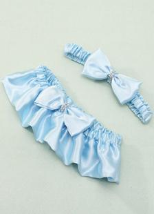 Casamento azul liga cetim plissado arcos Jarreteira Bridal Lingerie