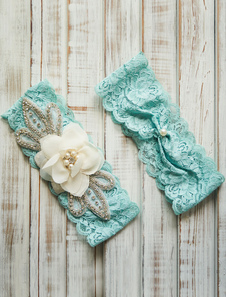 Кружева Свадебные подвязки мята зеленый стразы жемчужина бисером для новобрачных подвязка с цветком
