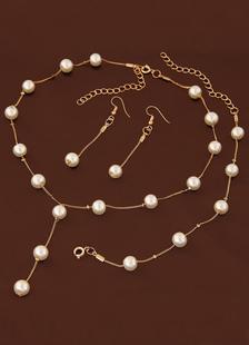 Свадебные украшения набор жемчужное ожерелье с браслет и серьги золото Свадебные аксессуары в 3 шт.
