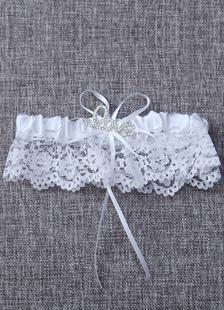 Laço branco strass Jarreteira AMOR cetim plissado Jarreteira nupcial com laço de fita de casamento