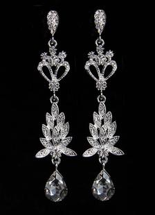 Goccia d'argento orecchini fiori strass donna trafitto orecchini lunghi