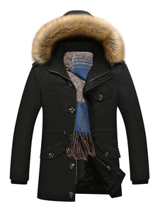 Black Parka Coat Faux Fur Hoodie Jacket Men Alinhado Destacável Overzied Inverno Casaco