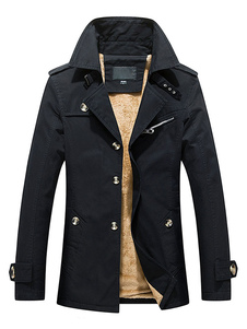 Interno foderato manica lunga polsino Strap cappotto di inverno caldo Trench cappotto uomo