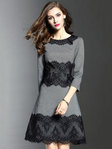 Laço de vestido cinza Skater redondo pescoço 3/4 comprimento manga Slim Fit Flare Dress