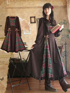 Lolita clássico vestido OP xadrez babados Mori menina vestido com manga longa