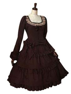 Gothic Lolita Dress OP decote quadrado babados manga longa vestido de corte em marrom escuro