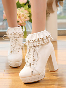 65943146ee4 Lolitashow White Lolita Boots Platform Chunky Heel Scalloped Lace Up Ankle  Boots    56.99 ...