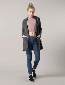 Cardigan casaco cinzento entalhe colarinho aberto frente Longline casaco feminino com bolsos