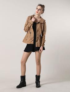 Algodão cáqui jaqueta Drawstring com capuz casaco Casual para as mulheres