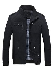 Cappotto antivento 2020 da taschino a contrasto con zip in cotone da uomo