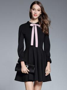 Vestido plisado de chifón de cuello vuelto con manga larga Color liso con pliegues estilo informal