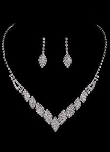 Наборы свадебных ювелирных изделий серебряные горный хрусталь элегантный ожерелье и серьги свадьбы