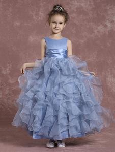 Vestido para las niñas de flores Azul claro con escote redondo con capas