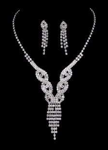Свадебные украшения наборы Серебряный старинный горный хрусталь кистями кулон ожерелье и серьги на крючках