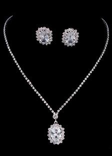 Винтаж Свадебные серебряные ожерелье свадебный комплект ювелирных изделий с горный хрусталь серьги