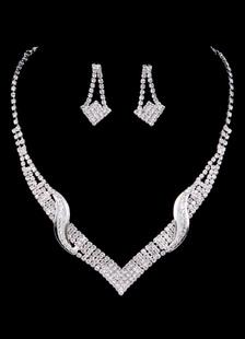 Joyas de boda Set plata Rhinestone nupcial gota pendiente con collar