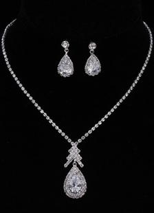 Casamento joias moda prata strass Vintage pingente de colar com brincos de gota