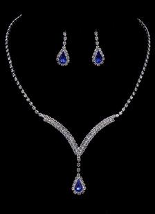 Свадебные украшения набор марочных для новобрачных горный хрусталь кулон ожерелье с сережкой падение