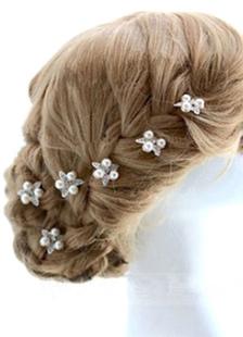 Casamento branco cabelo Pin strass pérola da joia do casamento (conjunto de 2 peças A)