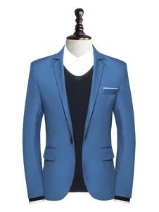 Мужчины вскользь Blazer Notch Collar One Button Blue Blazer Jacket