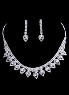 Свадебные украшения устанавливает серебра Винтаж для новобрачных в форме сердца ожерелье с Серьги