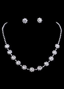 Старинные серебряные горный хрусталь цветы свадебный ожерелье и серьги наборы для новобрачных ювелирных украшений