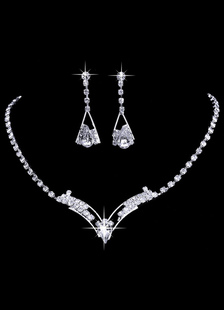 Винтаж Свадебные серебряные ожерелье свадебный комплект ювелирных изделий с горный хрусталь болтаться Серьги