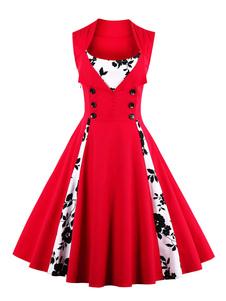 أحمر خمر اللباس ساحة العنق بلا أكمام الأزهار المطبوعة مطوي متزلج اللباس مع أزرار 2020