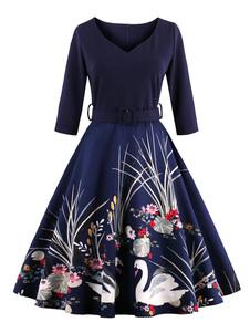 Vestiti Anni 50 stampa floreale donna maniche a 3/4 abiti anni 50 Bordeaux con scollo a V di poliestere Primavera Inverno Autunno