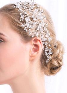 Белые Свадебные головные украшения кристалл стразами для новобрачных волос Ювелирные изделия