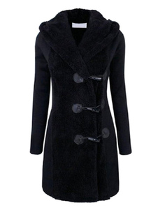 Manga longa inverno quente grossos casacos capuz casaco Duffle feminino
