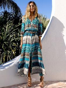 Boho Maxi vestido 3/4 de manga Floral impressão feminino alta dividir vestido longo azul