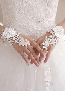 Кружевные свадебные перчатки без пальцев белый вышитый бисером цветы аппликации запястье Длина выдалбливают кружева свадебные перчатки