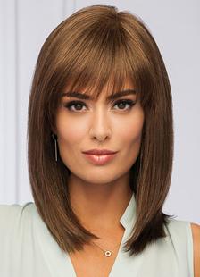 Pelucas de señora en color marrón en capas de pelo recto humano pelucas fibra resistente al calor