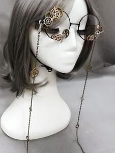 Lolita vintage occhiali Steampunk ingranaggi catene bronzo Lolita Costume accessori